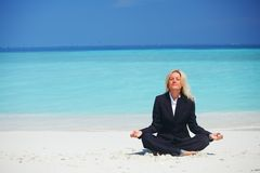 Yoga business woman Stock Image