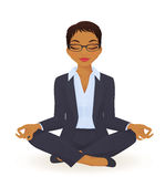 Yoga business woman. Young business woman in yoga lotus pose Stock Photography