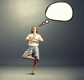 Yoga businesswoman with speech balloon Stock Photography
