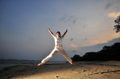 Yoga By The Beach Royalty Free Stock Photo