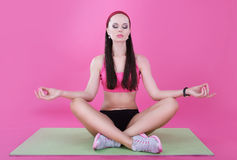 Yoga. Calm Woman Relaxing with Closed Eyes. Meditation Royalty Free Stock Image