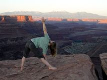 yoga in canyonlands royalty free stock images
