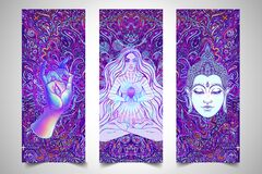 Free Yoga Card, Flyer, Poster, Mat Design. Colorful Template For Spiritual Retreat Or Yoga Studio. Ornamental Business Cards Stock Images - 198864324