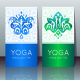 Yoga cards with girls in yoga poses Royalty Free Stock Photos