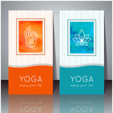 Yoga cards with watercolor texture and yoga symbols. Royalty Free Stock Photos
