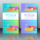 Yoga cards with yoga mats, sample text Royalty Free Stock Images