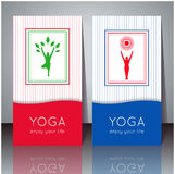 Yoga cards with your text and yogi silhouette. Stock Images