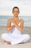 Yoga at Caribbean Stock Photo