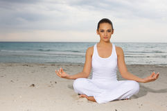 Yoga at Caribbean Royalty Free Stock Photography
