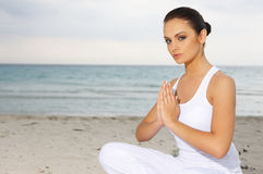 Yoga at Caribbean Stock Photography