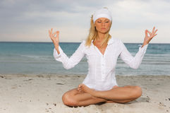 Yoga at Caribbean Royalty Free Stock Photos