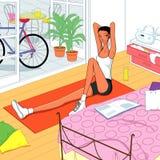 Yoga a casa, yoga per un bello corpo Immagini Stock Libere da Diritti