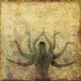 Yoga Celestial. Woman with eight arms in ancient celestial illustration Stock Photography