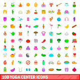 100 yoga center icons set, cartoon style. 100 yoga center icons set in cartoon style for any design vector illustration Royalty Free Stock Photo
