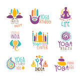 Yoga Center Set Of Colorful Promo Sign Design Templates With Different Indian Spiritual Symbols For Fitness Studio Royalty Free Stock Image
