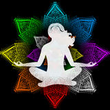 Yoga and chakras. The illustration on the theme of the meditation Royalty Free Stock Photo