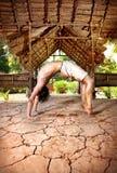 Yoga Chakrasana di Grunge Fotografia Stock Libera da Diritti