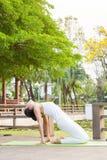 Yoga che pratica nel parco Immagini Stock Libere da Diritti