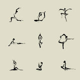Yoga Chinese brush icon drawing. Set Stock Photography