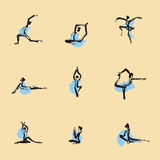 Yoga Chinese brush icon drawing. Set Royalty Free Stock Photos