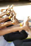 Yoga Class. People practicing yoga together at yoga festival. Bhakti Fest Royalty Free Stock Photos