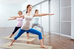 Yoga class. Young attractive girls do yoga Stock Photos