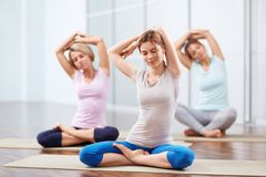 Yoga class. Young attractive girls do yoga Stock Photography