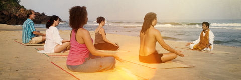 Yoga Class By The Beach Having Breathing Exercise Concept Royalty Free Stock Images