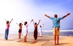 Yoga Class Beach Outdoor Horizon Relaxation Sky Concept Royalty Free Stock Photo