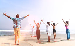 Yoga Class By The Beach Relaxation Peace Healthy Concept stock photo