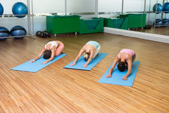 Yoga class in childs pose in fitness studio Stock Photography