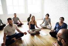 Yoga class concept. Yoga class room meditation concept stock images