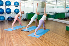 Yoga class in fitness studio Stock Images