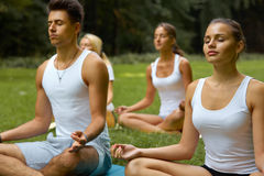 Yoga Class. Group of People Meditating At Summer Park Stock Image