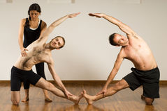 two people in a yoga pose  vertical stock photo  image
