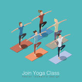 Yoga class illustration. Join yoga class isometric vector illustration concept. Healthy life style. Group of women doing yoga workout at studio with trainer Stock Photos
