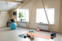 Yoga class interior Royalty Free Stock Images