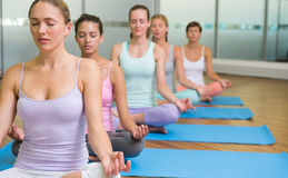 Yoga class in lotus pose in fitness studio Royalty Free Stock Photo