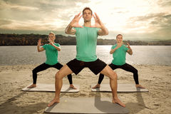 Yoga class outdoor Royalty Free Stock Photography