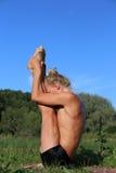 Yoga class outdoors. Near river Stock Photo