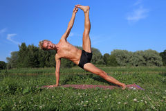 Yoga class outdoors Royalty Free Stock Photo