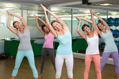 Yoga class in tree pose in fitness studio Royalty Free Stock Image