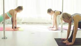 Two women doing yoga exercises in studio. Yoga class. Two women doing yoga exercises in studio stock footage