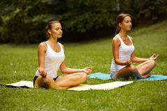 Yoga class. Woman exercising in summer park Royalty Free Stock Photography
