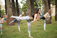 Yoga classes outdoor at park. Group of women exercising outdoors. Yoga classes outdoor at green park lawn. Group of caucasian women in sportswear exercising royalty free stock photography