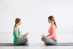 Yoga classes. Young girl in yoga classes stock image