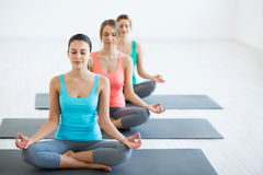 In yoga classes royalty free stock photos
