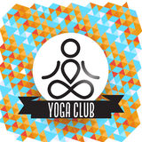 Yoga club concept. With ribbon and geometric background Royalty Free Stock Photos