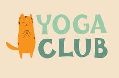 Yoga club logo. With cute cat. Meditation, Surya Namaskar, Sun Salutation. Vector illustration Stock Photo