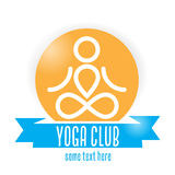 Yoga club logo. Design with blue ribbon Stock Photos